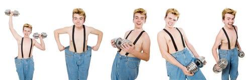 De collage van de grappige mens met domoren op wit Stock Afbeelding