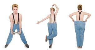 De collage van de grappige mens met domoren op wit Stock Foto