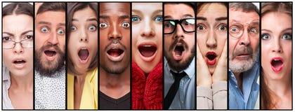 De collage van de jonge mens en de vrouw zien uitdrukkingen onder ogen Royalty-vrije Stock Afbeeldingen