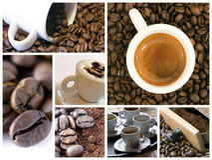 De collage van de koffie Stock Afbeeldingen