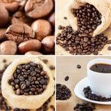 De collage van de koffie die met vier unieke beelden wordt gemaakt Royalty-vrije Stock Afbeelding