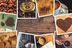 De collage van de koffiefoto Stock Foto's