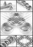 De collage van de moersleutel Stock Foto's