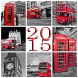 2015, de collage van de reisfoto's van Londen Stock Afbeeldingen