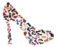De Collage van de Schoenen van dames Stock Foto's