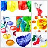 De Collage van de Verf van de kleur Royalty-vrije Stock Foto's