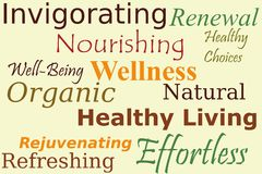 De Collage van de Woorden van Wellness Stock Foto's