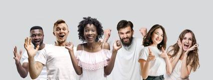 De collage van gezichten van verraste mensen op witte achtergronden stock afbeelding