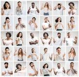 De collage van gezichten van verraste mensen op witte achtergronden royalty-vrije stock foto