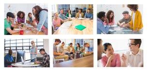 De collage van de groepswerkvergadering stock foto