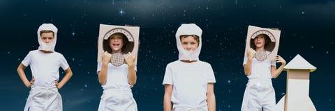 De collage van het astronautenjonge geitje tegen ruimteachtergrond royalty-vrije stock foto