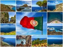 De collage van het eilandlandschappen van madera, Portugal Stock Foto's