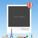 De collage van het fotokader met beeldverhaalachtergrond voor Europese landen en de vectorillustratie van de hete luchtballon Royalty-vrije Stock Fotografie