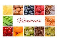 De Collage van het fruit Citroen, bosbes, honing, koffie, sinaasappel, meloen, bes Royalty-vrije Stock Foto's