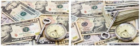 De collage van het het geldconcept van de financiële zekerheidtijd stock afbeeldingen