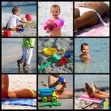 De collage van het het strandleven van de zomer Stock Foto's