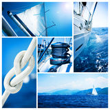De collage van het Jacht van de zeilboot. Het varen stock foto
