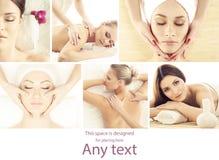 De collage van het kuuroord Verschillende types van massage en skincare over isolat stock foto