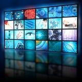 De collage van het de microbiologieonderzoek in een digitale vertoning stock foto