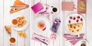 De collage van het ontbijtvoedsel Stock Afbeeldingen