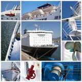 De collage van het schip Stock Foto