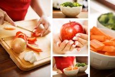 De collage van het voedsel Stock Afbeeldingen
