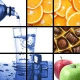 De collage van het voedsel en van de drank
