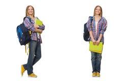 De collage van jonge vrouwelijke student op wit stock foto