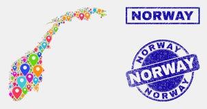 De Collage van kaartwijzers van van Noorwegen de Kaart en van Grunge Zegels royalty-vrije illustratie