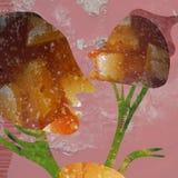 de collage van de kunstfoto bestaat uit twee hoofden, lijn, roze achtergrond en het broeden stemming stock foto
