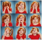De collage van meisje met verschillende emoties Stock Foto's