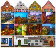 De collage van meningen van historische middeleeuwse gebouwen langs een kanaal in Brugge, België royalty-vrije stock foto's