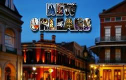 De collage van New Orleans en nachtscène stock foto