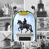 De collage van Parijs in zwart-wit Stock Foto