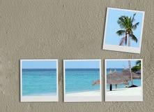 De collage van polaroidcamera's op zand vector illustratie