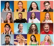 De collage van portretten van vrouwen met het glimlachen gelaatsuitdrukking stock foto's