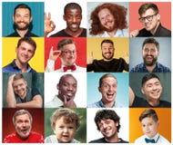 De collage van portretten van vrouwen met het glimlachen gelaatsuitdrukking royalty-vrije stock foto
