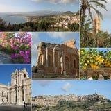 De collage van Sicilië Stock Afbeeldingen