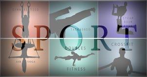 De collage van silhouetten van man en vrouwen opleidingssport Stock Foto's