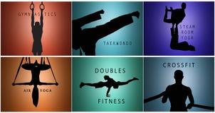 De collage van silhouetten van man en vrouwen opleidingssport Stock Afbeelding