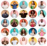 De collage van verraste mensen stock afbeeldingen