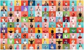 De collage van verraste mensen stock foto