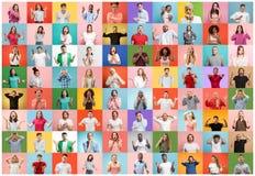 De collage van verraste mensen stock afbeelding