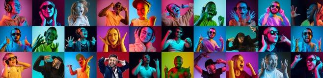 De collage van verraste mensen royalty-vrije stock foto