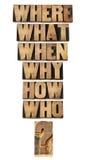 De collage van vragen in houten type Royalty-vrije Stock Afbeelding