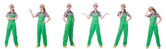 De collage van vrouw die groene die overtrekken dragen op wit wordt geïsoleerd stock afbeeldingen