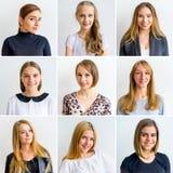 De collage van vrouwenemoties stock foto