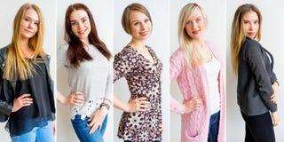 De collage van vrouwenemoties stock fotografie