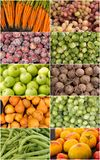 De collage van vruchten en van groenten Stock Afbeelding