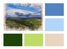 De collage van Waterverf schilderde mooie groene vallei en kleurde rechthoeken vector illustratie